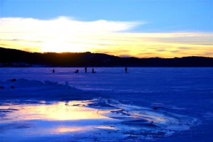 Ice Fishing on Georgetown Lake at Sunset - Product Image